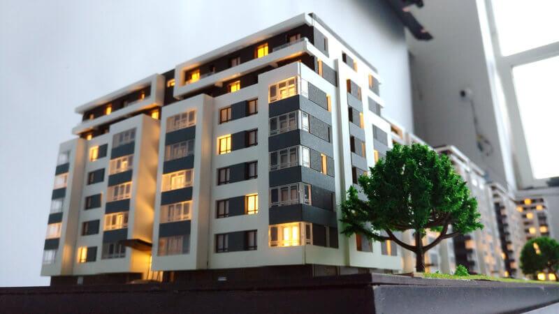 Apartment building scale model