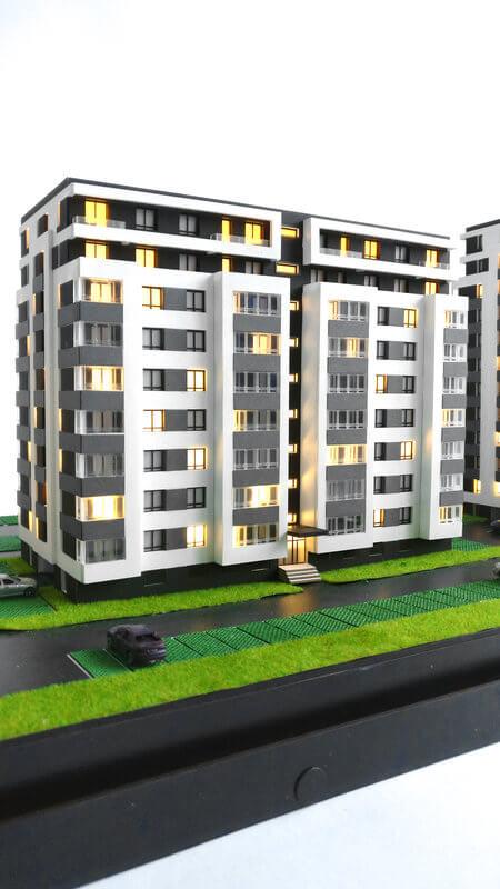 Apartment building scale models