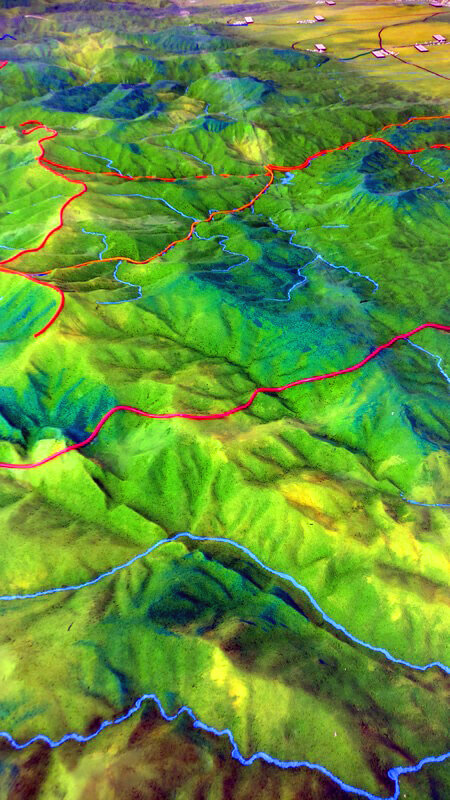 topographical model rivers