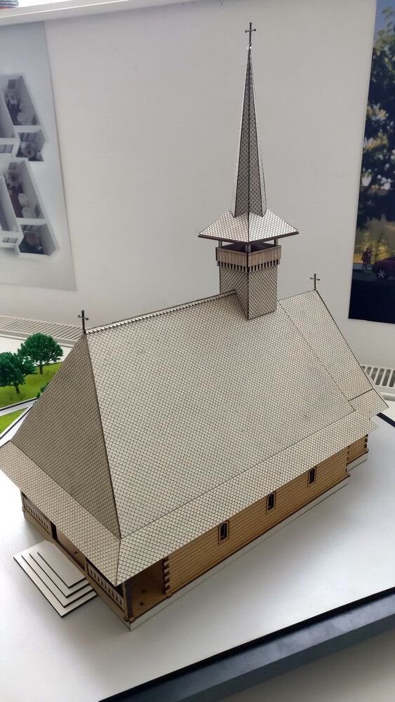scale model of an wooden church