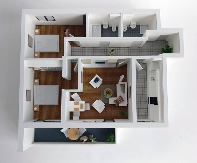 Detailed Floor Plan Model Three room Apartment