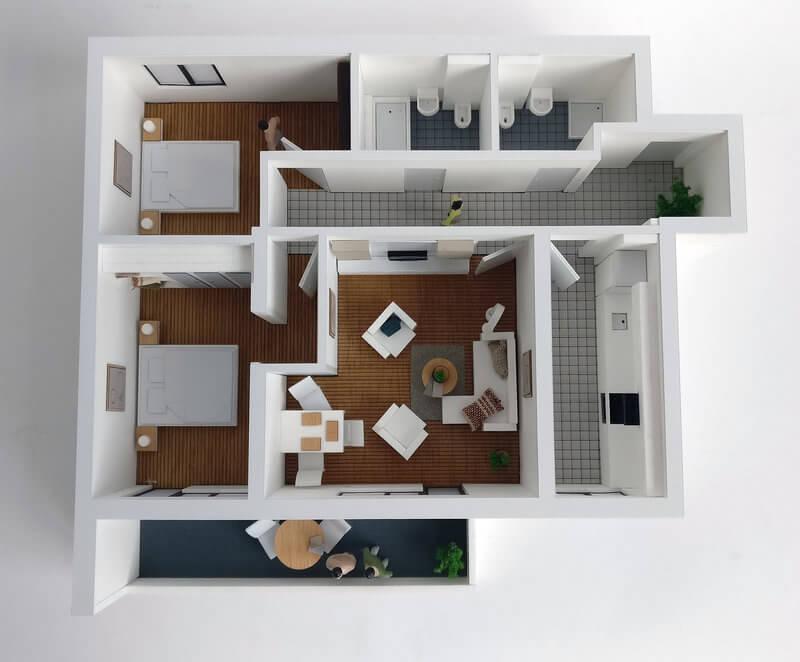 Detailed Floor Plan Model Three room Apartment