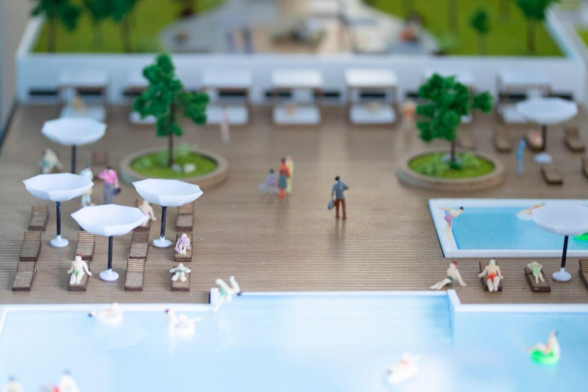Scale model of the swimming pool